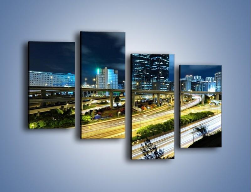 Obraz na płótnie – Przedmieście miasta wieczorem – czteroczęściowy AM091W2