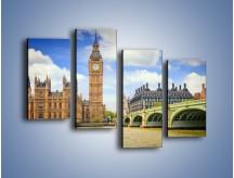 Obraz na płótnie – Big Ben w pochmurny dzień – czteroczęściowy AM095W2