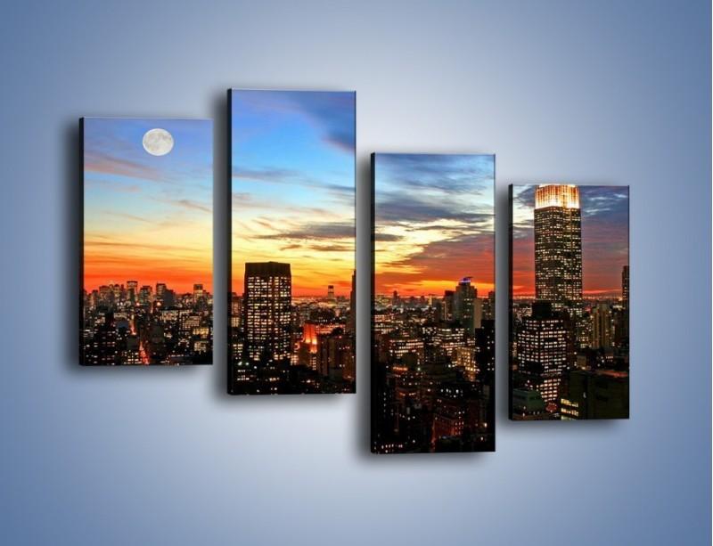 Obraz na płótnie – Pełnia księżyca nad zasypiającym miastem – czteroczęściowy AM096W2