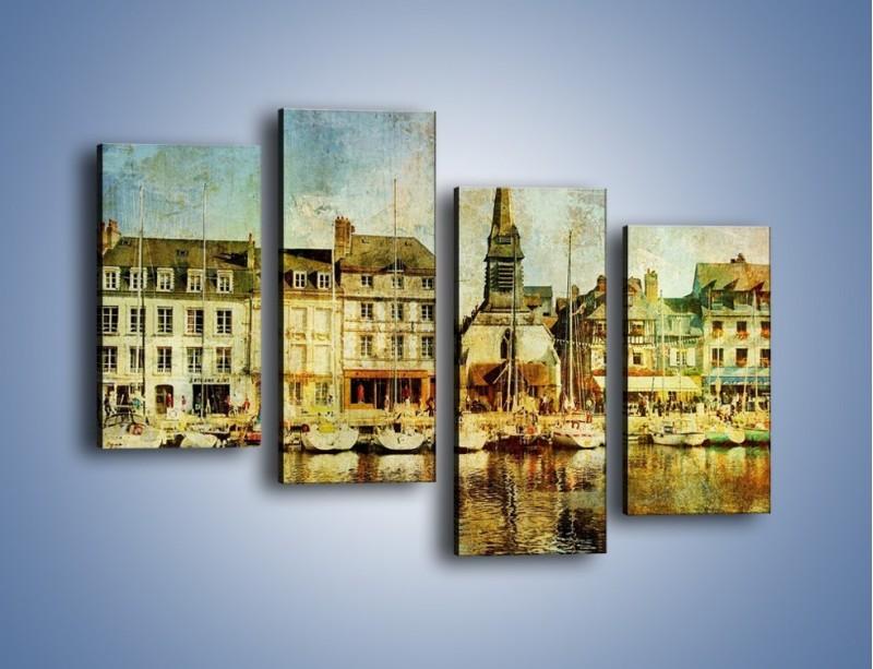 Obraz na płótnie – Łódki nad brzegiem miasteczka w stylu vintage – czteroczęściowy AM108W2
