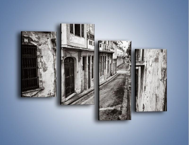 Obraz na płótnie – Urokliwa uliczka w starej części miasta – czteroczęściowy AM124W2