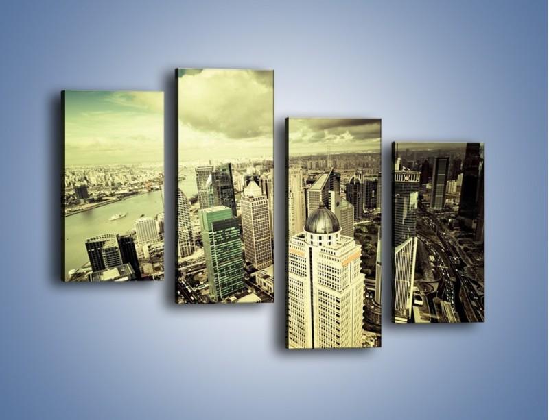 Obraz na płótnie – Ciemne chmury nad miastem – czteroczęściowy AM130W2