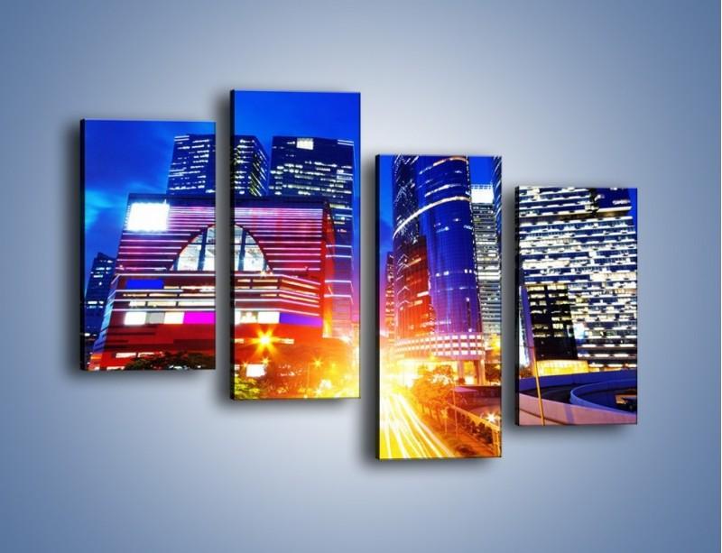 Obraz na płótnie – Miasto w żywych kolorach – czteroczęściowy AM131W2
