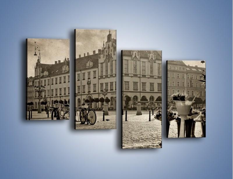 Obraz na płótnie – Rynek Starego Miasta w stylu vintage – czteroczęściowy AM138W2