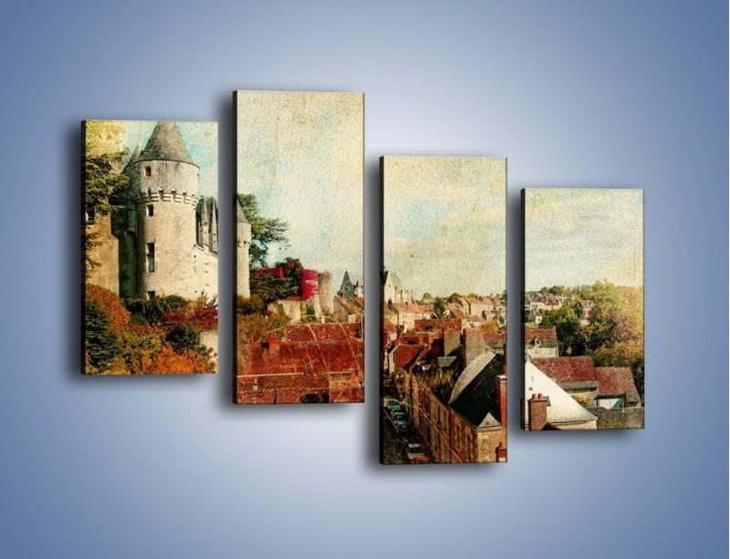 Obraz na płótnie – Zamek nad miasteczkiem w stylu vintage – czteroczęściowy AM142W2