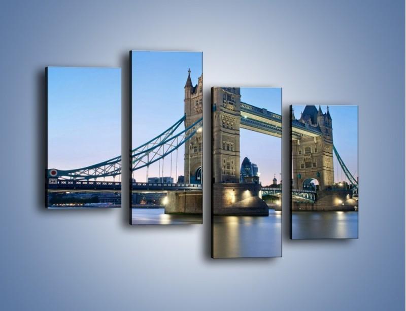 Obraz na płótnie – Tower Bridge o poranku – czteroczęściowy AM143W2