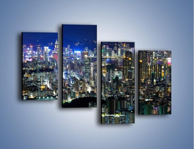 Obraz na płótnie – Nocne światła w dużym mieście – czteroczęściowy AM144W2