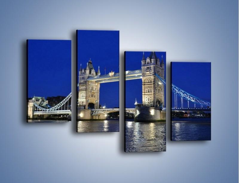 Obraz na płótnie – Tower Bridge nocą – czteroczęściowy AM145W2