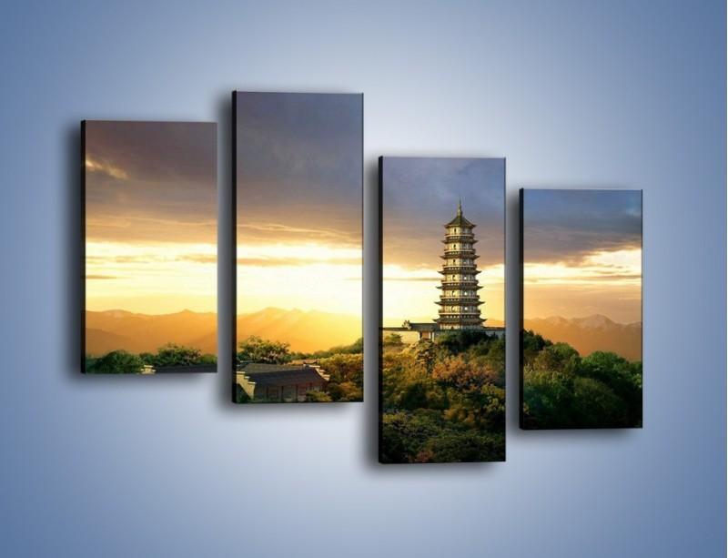 Obraz na płótnie – Azjatycka architektura o poranku – czteroczęściowy AM151W2