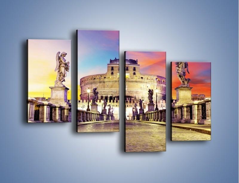 Obraz na płótnie – Zamek św. Anioła na tle kolorowego nieba – czteroczęściowy AM156W2