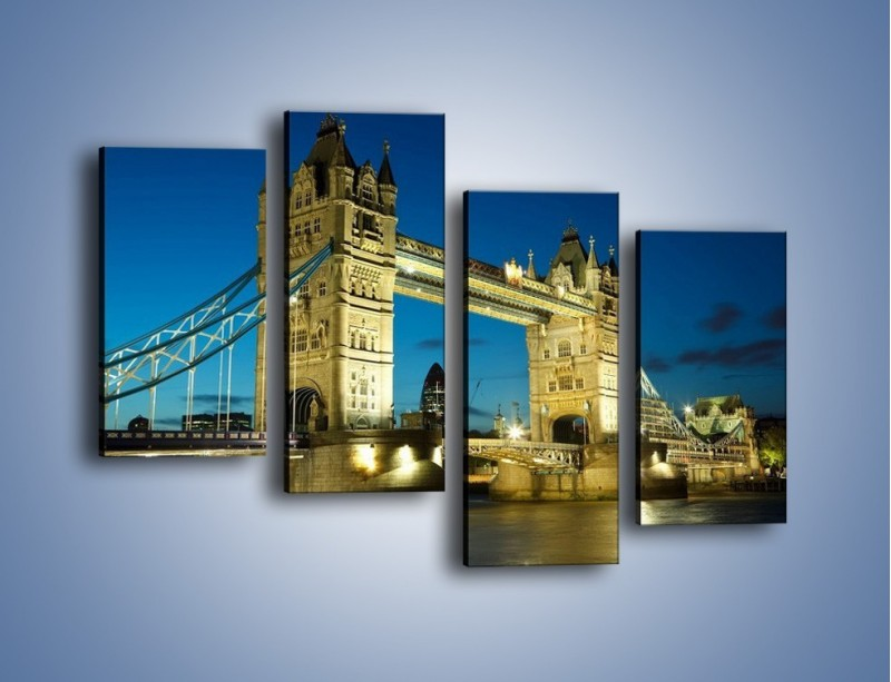 Obraz na płótnie – Tower Bridge wieczorową porą – czteroczęściowy AM159W2