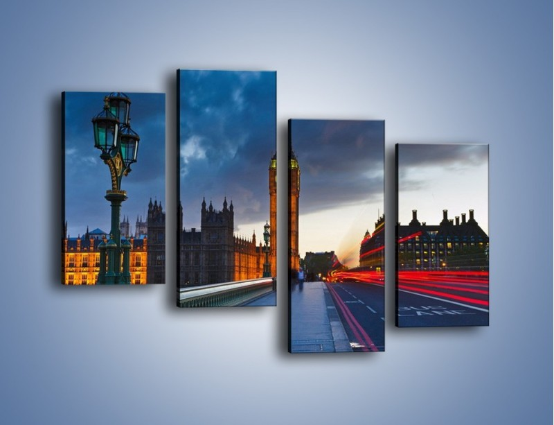 Obraz na płótnie – Big Ben świetle lamp – czteroczęściowy AM166W2