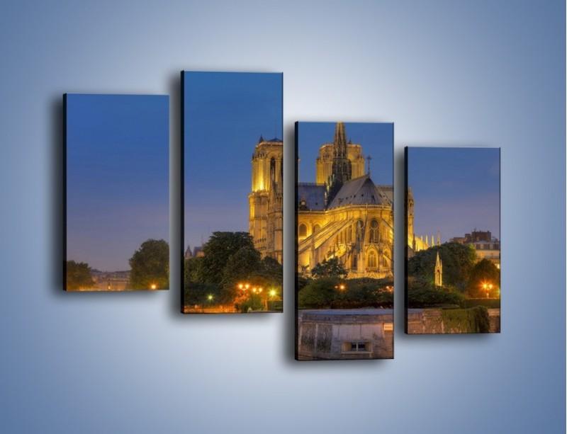 Obraz na płótnie – Kościół w świetle wieczornych lamp – czteroczęściowy AM170W2