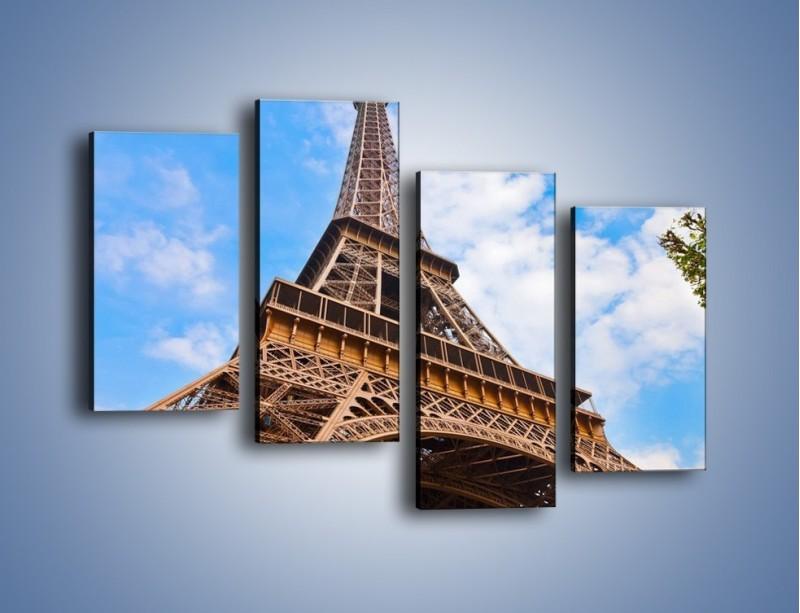 Obraz na płótnie – Wieża Eiffla pod chmurkami – czteroczęściowy AM173W2