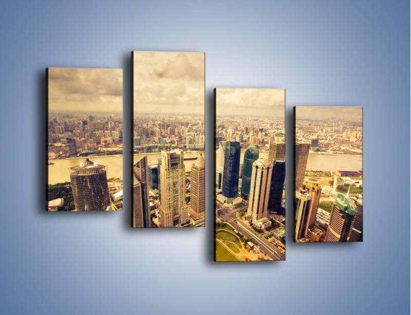 Obraz na płótnie – Miasto w pochmurny dzień – czteroczęściowy AM178W2
