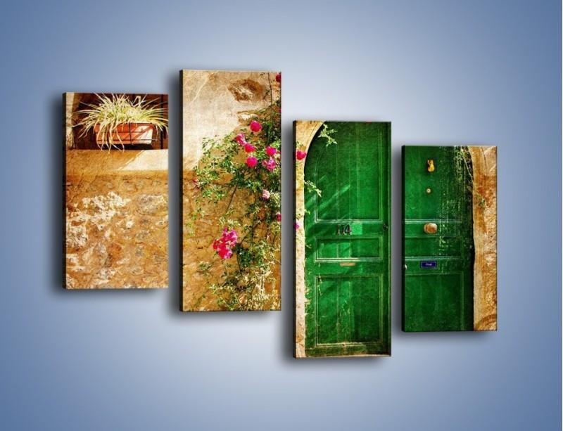 Obraz na płótnie – Drzwi w greckim domu vintage – czteroczęściowy AM192W2