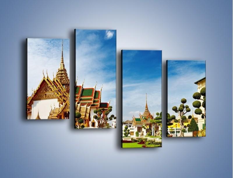 Obraz na płótnie – Tajska architektura pod błękitnym niebem – czteroczęściowy AM197W2