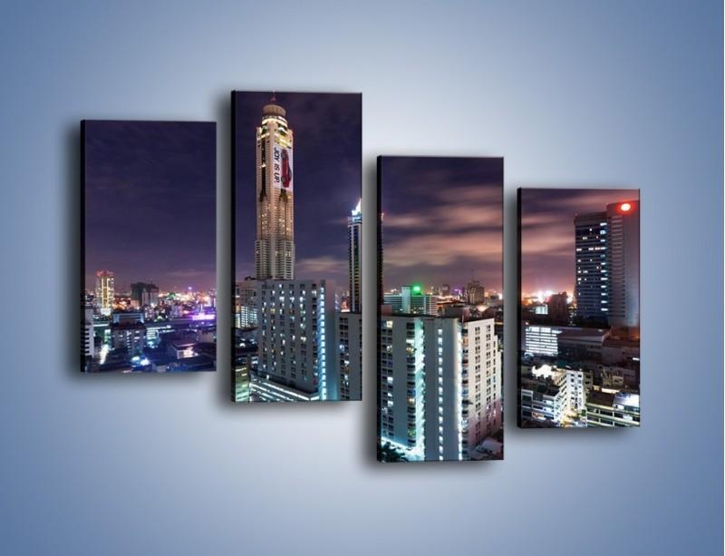 Obraz na płótnie – Duże miasto nocą – czteroczęściowy AM202W2