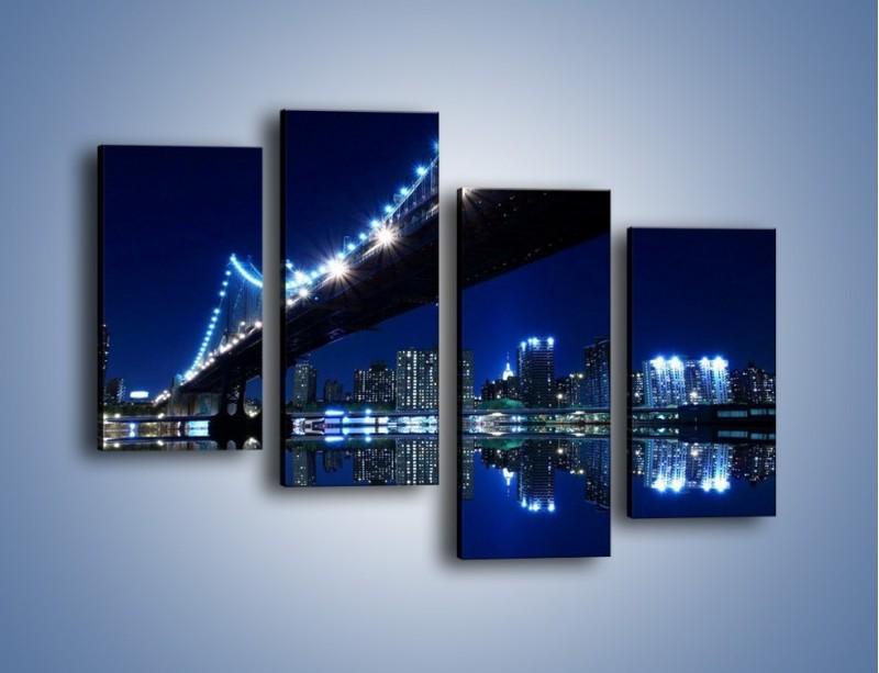 Obraz na płótnie – Oświetlony most w odbiciu wody – czteroczęściowy AM211W2