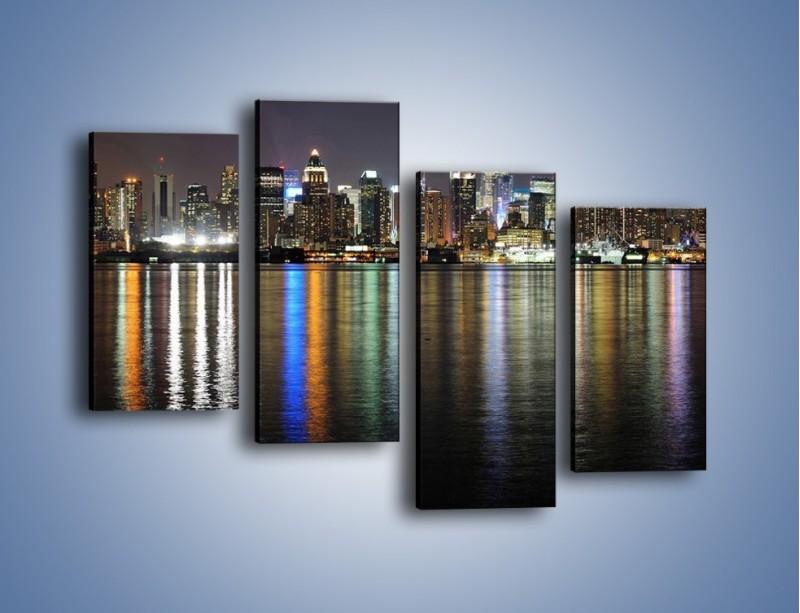 Obraz na płótnie – Światła miasta w lustrzanym odbiciu wody – czteroczęściowy AM222W2