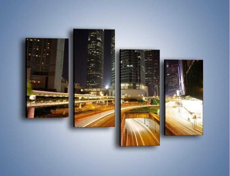 Obraz na płótnie – Miasto w nocnym ruchu ulicznym – czteroczęściowy AM225W2