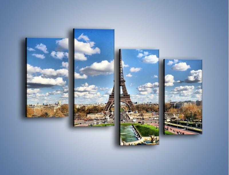 Obraz na płótnie – Wieża Eiffla w pochmurny dzień – czteroczęściowy AM227W2