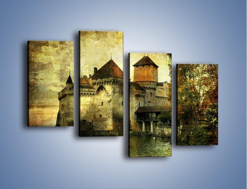 Obraz na płótnie – Średniowieczny zamek w stylu vintage – czteroczęściowy AM233W2