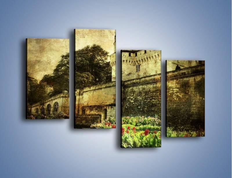 Obraz na płótnie – Zamek w stylu vintage – czteroczęściowy AM234W2