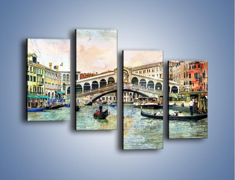 Obraz na płótnie – Wenecja w stylu vintage – czteroczęściowy AM239W2