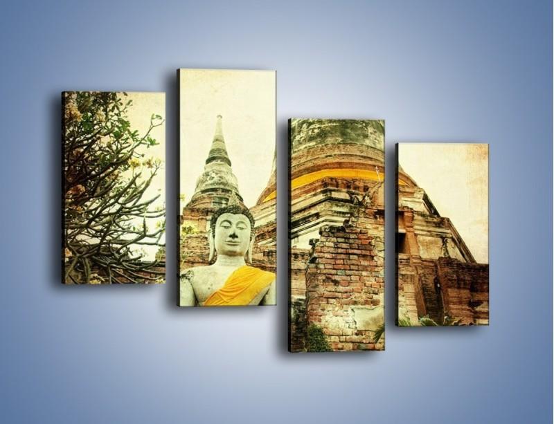 Obraz na płótnie – Tybetańska architektura w stylu vintage – czteroczęściowy AM247W2
