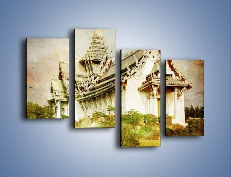 Obraz na płótnie – Dalekowschodnia architektura vintage – czteroczęściowy AM248W2
