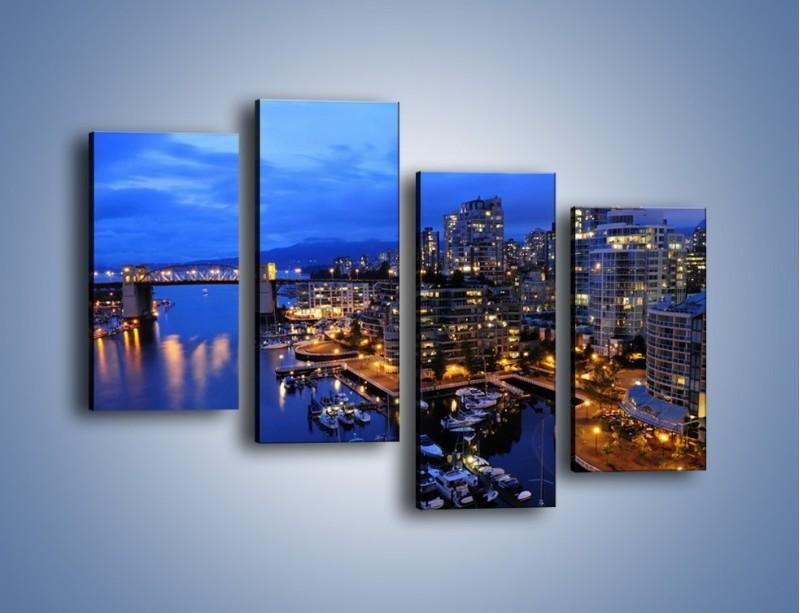 Obraz na płótnie – Port na jachty w mieście nocą – czteroczęściowy AM250W2
