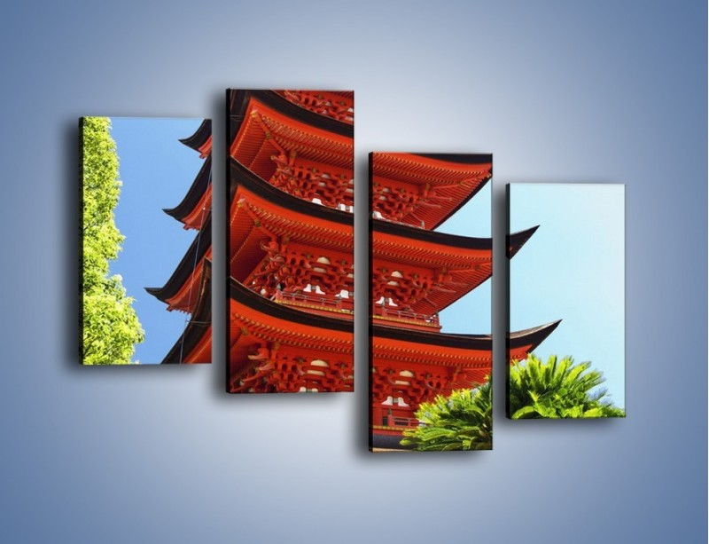 Obraz na płótnie – Japońska architektura wśród drzew – czteroczęściowy AM252W2