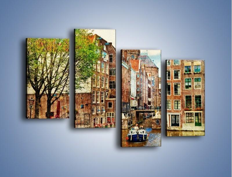Obraz na płótnie – Kanał w Amsterdamie vintage – czteroczęściowy AM259W2