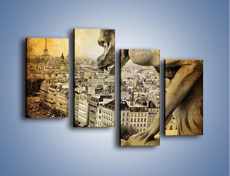 Obraz na płótnie – Paryski gargulec w stylu vintage – czteroczęściowy AM260W2