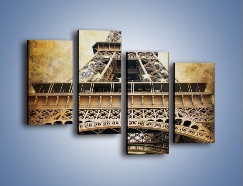 Obraz na płótnie – Wieża Eiffla w stylu vintage – czteroczęściowy AM261W2