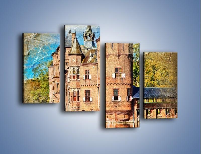 Obraz na płótnie – Zamek nad wodą w stylu vintage – czteroczęściowy AM262W2