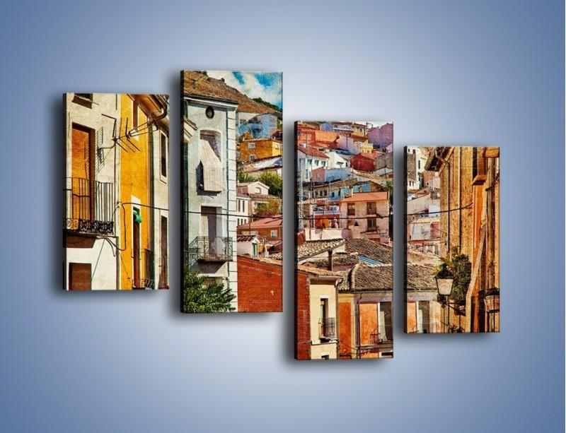 Obraz na płótnie – Kolorowe domki na wzgórzu vintage – czteroczęściowy AM264W2