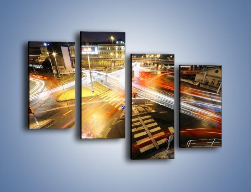 Obraz na płótnie – Światła samochodów w ruchu na skrzyżowaniu – czteroczęściowy AM279W2