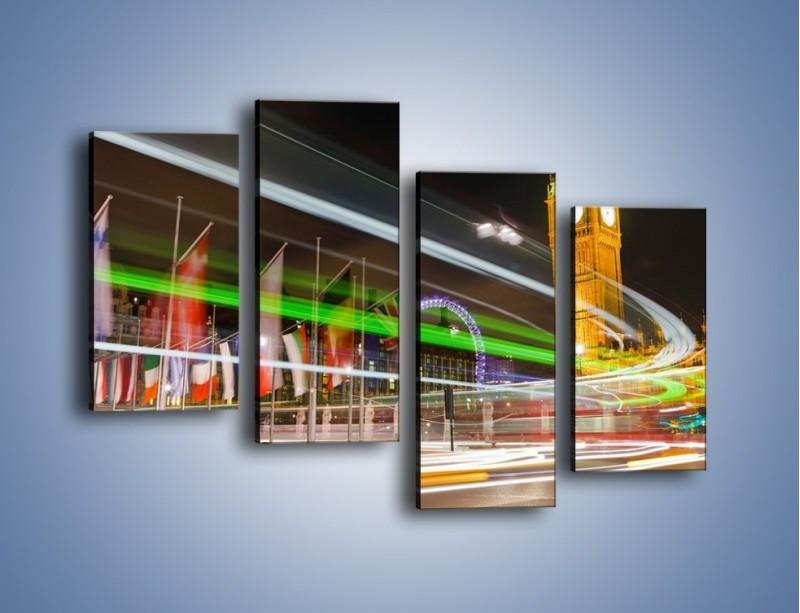 Obraz na płótnie – Światła samochodów na tle Big Bena – czteroczęściowy AM283W2