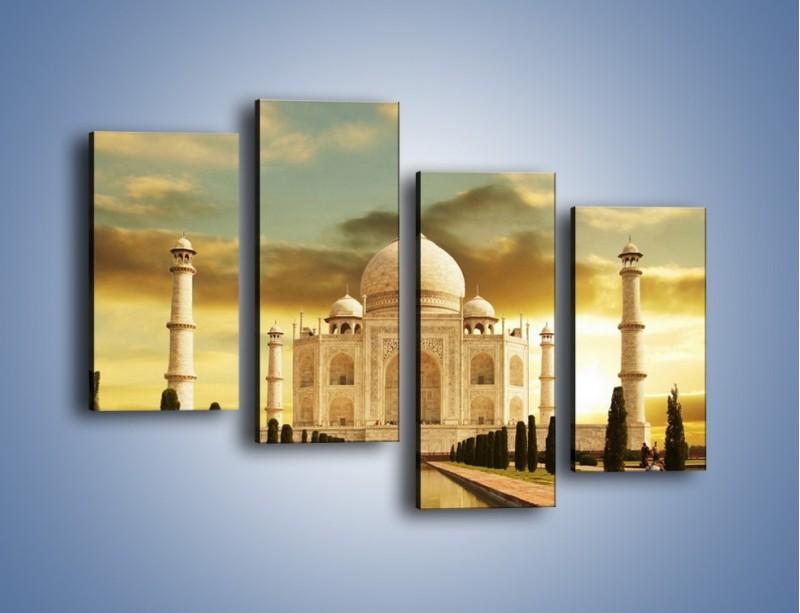 Obraz na płótnie – Tadź Mahal o zachodzie słońca – czteroczęściowy AM285W2