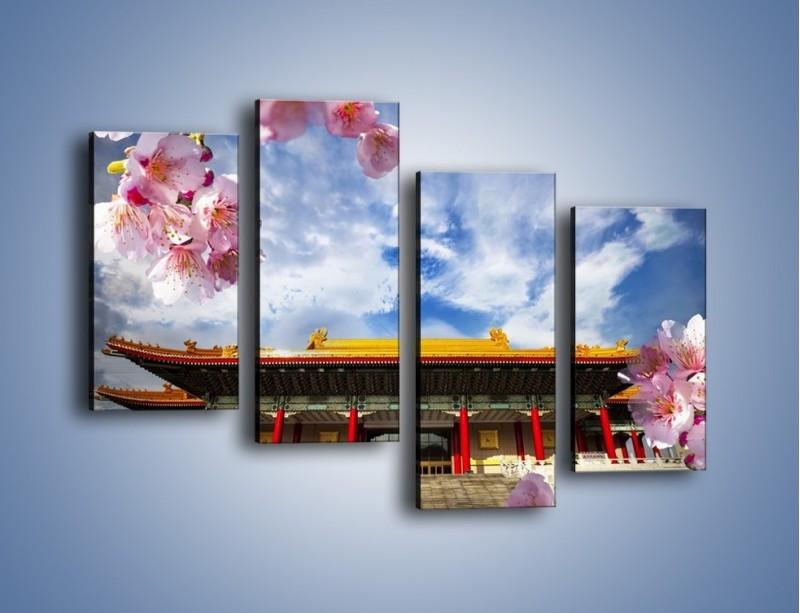 Obraz na płótnie – Azjatycka architektura z kwiatami – czteroczęściowy AM298W2