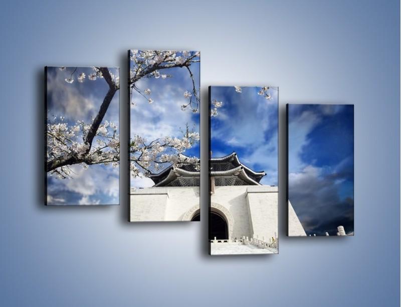 Obraz na płótnie – Azjatycka architektura z białymi kwiatami – czteroczęściowy AM300W2