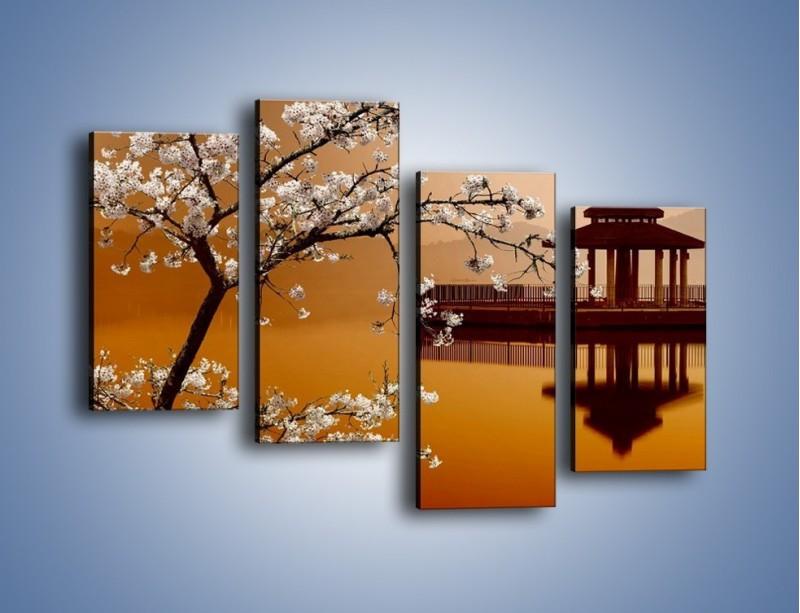 Obraz na płótnie – Kwiaty na tle Sun Moon Lake – czteroczęściowy AM301W2