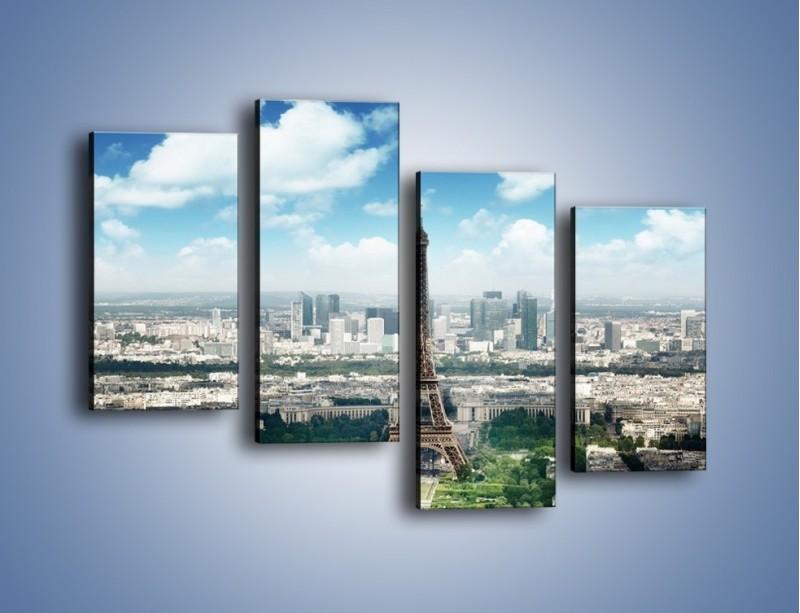 Obraz na płótnie – Chmury nad Wieżą Eiffla – czteroczęściowy AM302W2