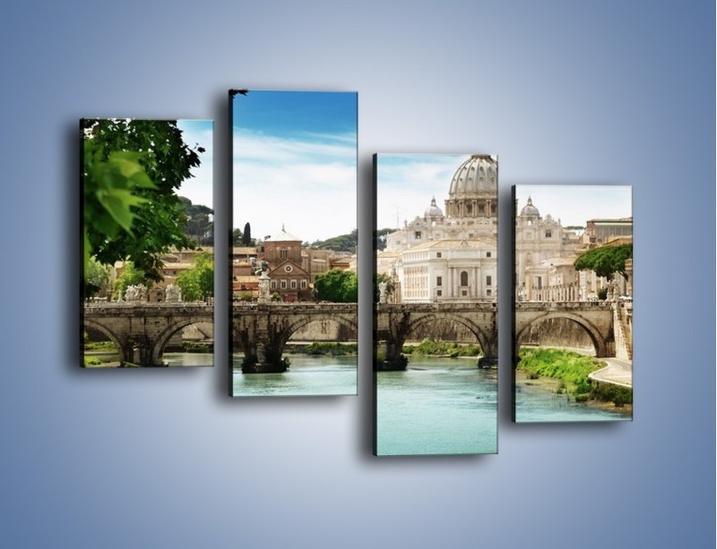 Obraz na płótnie – Rzeka Tyber na tle bazyliki – czteroczęściowy AM303W2