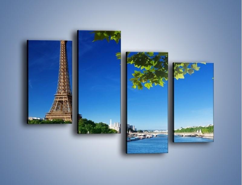 Obraz na płótnie – Wieża Eiffla w piękny dzień – czteroczęściowy AM304W2