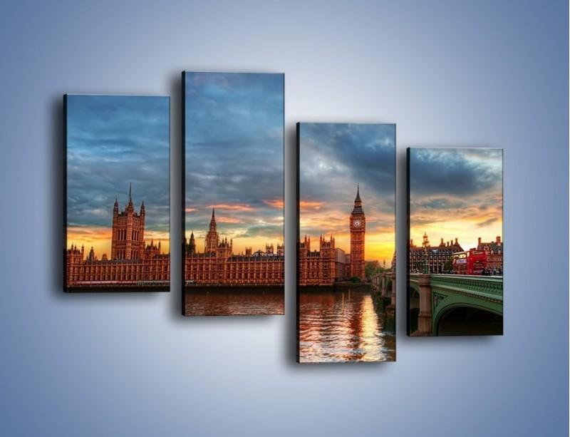 Obraz na płótnie – Pałac Westmnisterski i Big Ben – czteroczęściowy AM321W2