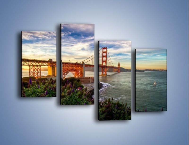Obraz na płótnie – Most Golden Gate o zachodzie słońca – czteroczęściowy AM332W2