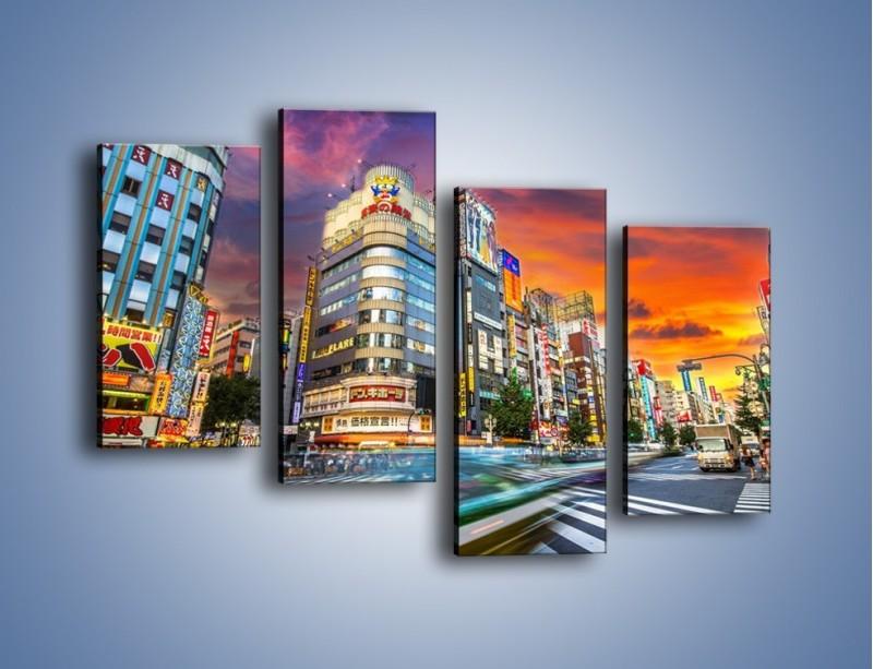 Obraz na płótnie – Tokyo na tle kolorowego nieba – czteroczęściowy AM336W2